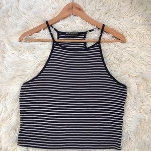 blue & white striped tank top